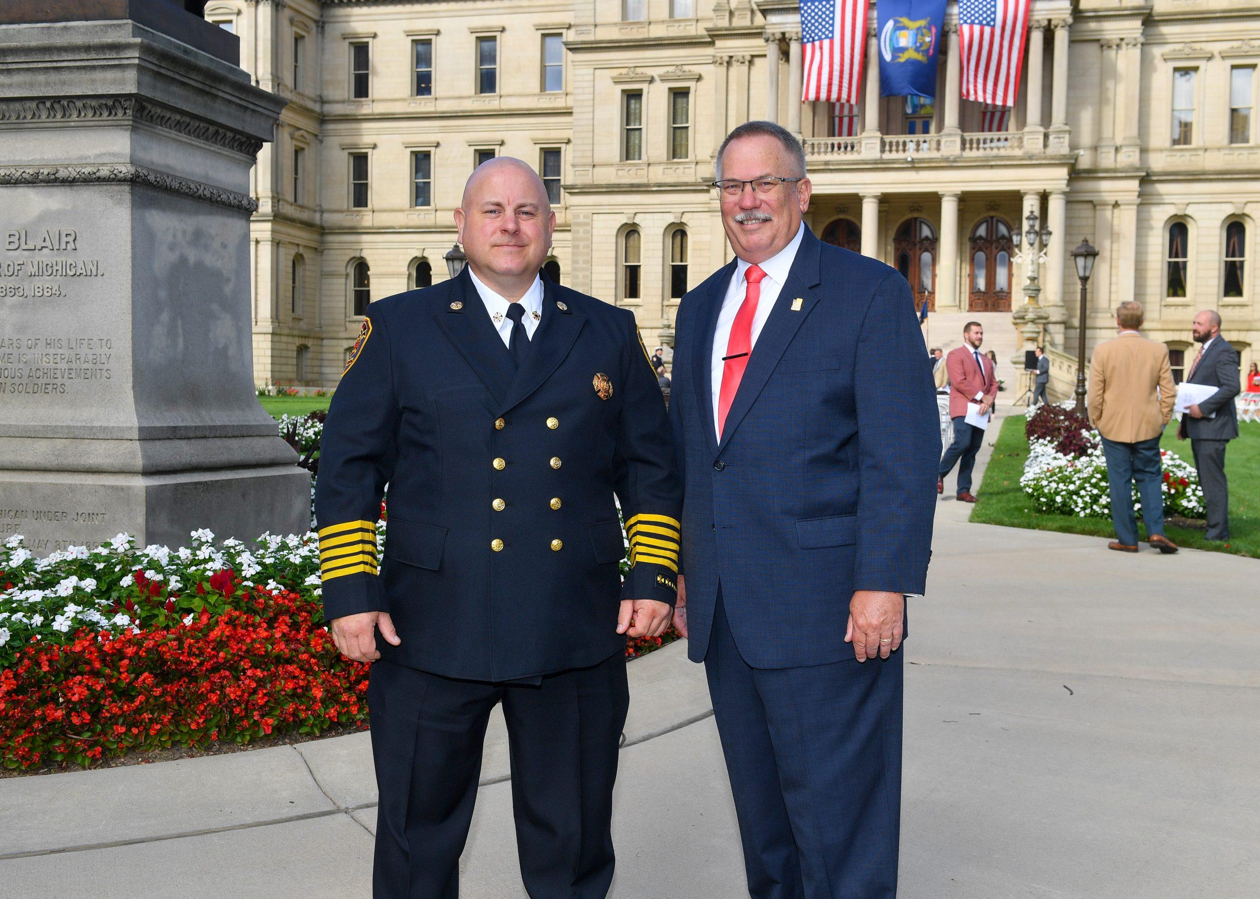 Rep. David Martin and Davison-Richfield Area Fire Chief Brian Flewelling